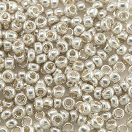 Preciosa Czech glass seed bead 9/0 Silver Metallic coated
