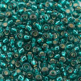 Preciosa Czech glass seed bead 9/0 Teal glass silver lined