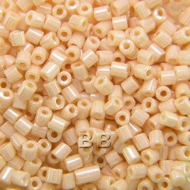 Preciosa Czech glass unica pink cream seed bead 1.6mm Pearl or Shell precision cut tubes