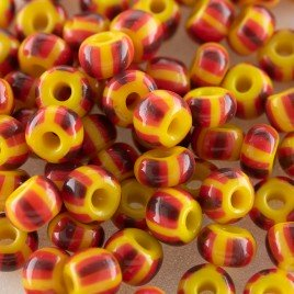 Preciosa Czech seed bead 5/0 Yellow with Red & Purple Striped glass