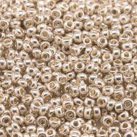 Preciosa Czech glass seed bead Size 11/0 Silver Metallic coated