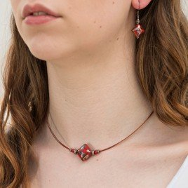 Red & Copper Artisan glass bead  Necklace