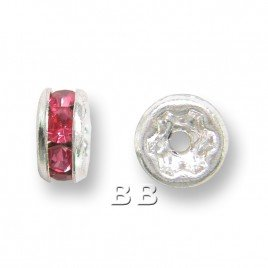 Rose 4.5mm Silver Plate Czech Crystal Rhinestone Rondelle