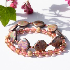 Rose Multi Fantasy Bead Bracelet Set