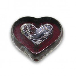 Ruby Wine Heart 14x12mm Table Cut Czech Glass Bead