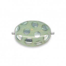 Sage Opal green peacock silver spot 12x9mm beetle pressed glass bead