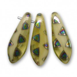 Sandy yellow mixed glass 5x16mm single hole dagger bead, glass shaped drops.