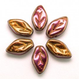Santander wavy leaf 10x6mm glass bead.