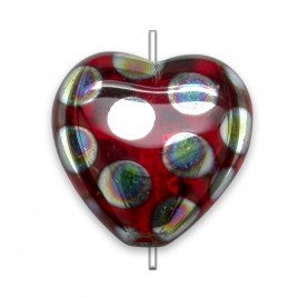 Siam peacock Heart 16x15mm  Pressed Czech Glass Bead
