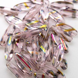 Rosewater Pink 15x6mm mini oval glass beads with Zebra Peacock designs - Retail system