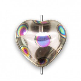 Clear Pinky 16mm heart, with a 0.8mm hole.