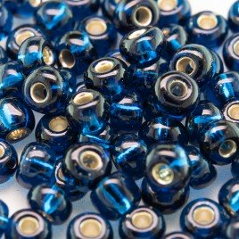 Steel Blue silver lined size 5/0 seed beads- Retail system