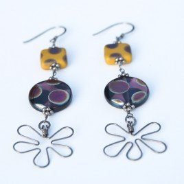 Amethyst  & Ochre Flower Earrings