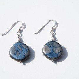 Strong Blue Fantasy Bead Earrings