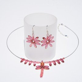Sugar Coral  Dragonfly Pendant Seed Bead Colorway