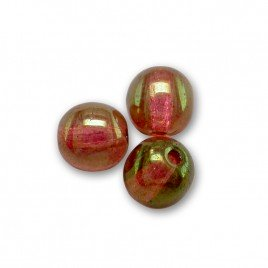 Sugar Coral Iridescent Lustre 6mm round Czech glass druk beads