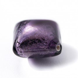 Tanzanite 16x16mm Diamond Cushion Silver Foil Czech glass Lampwork Bead