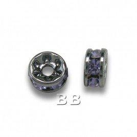 Tanzanite 4.5mm Black Plate Czech Crystal Rhinestone Rondelles