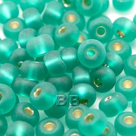 Teal matt silver lined size 5/0 seed beads- Retail system