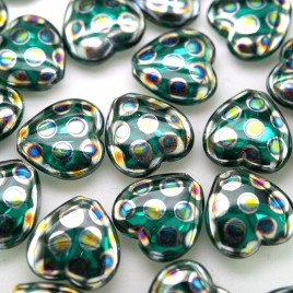 Teal peacock Heart 16x15mm  Pressed Czech Glass Bead