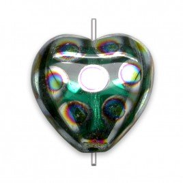 Teal peacock Heart 16x15mm  Pressed Czech Glass Bead