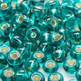Teal silver lined size 5/0 seed beads- Retail system