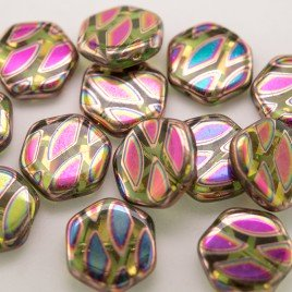 Tender Shoots Peacock Hexagon 17mm Pressed Czech Glass Bead