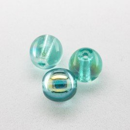 Turquoise AB 6mm round Czech glass druk beads