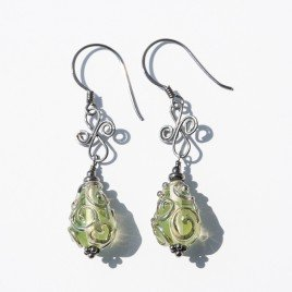 Uranite artisan glass earrings 12x8mm drops - .925 (Black finish)
