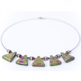 Wild Lime Flower, Glass Bead Triangle Necklace – Sterling Silver (black finish) components