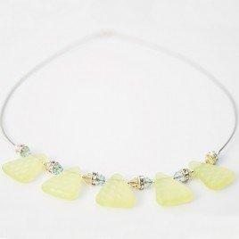 Wild Primrose Glass Bead Triangle Necklace - Sterling silver components