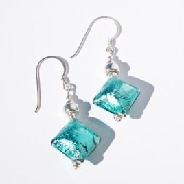 Zircon Artisan Glass Bead Earrings