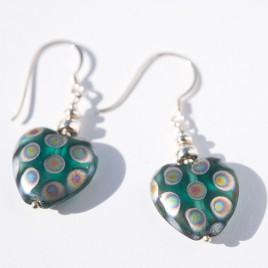Zircon Peacock Heart Bead Earrings